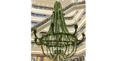 時代廣場展現典雅綠色聖誕