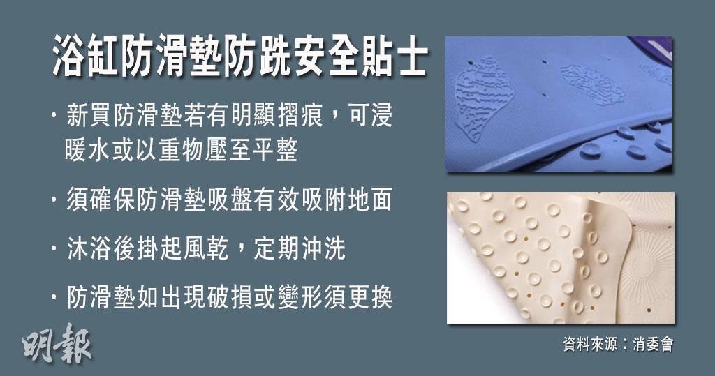 浴缸防滑墊防跣貼士 消委會:確保吸盤吸附地面 沐浴後掛起風乾