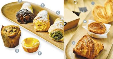 Unicorn Puff —— 懷舊忌廉筒復刻版,有比利時朱古力(A)、原味吉士(B)、宇治抹茶(C)和法國榛子(D)4款口味。($38至$42);香蕉蛋糕(E)——近期推出的新產品,香蕉味道芳香馥郁,質感鬆化濕潤。($25);吉士蛋撻(F)——酥皮細緻酥脆,撻水蛋香濃郁,猶如crème brûlée一樣。($13)(黃志東攝)
