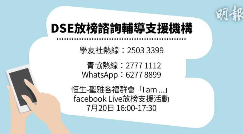 【DSE放榜】今日放榜 諮詢輔導機構熱線、網站、活動一覽